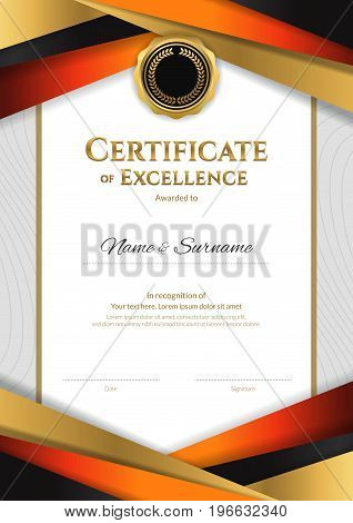 Portrait luxury certificate template with elegant golden border frame Diploma design for graduation or completion