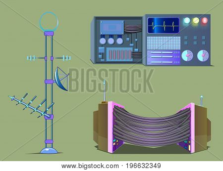 The image of three objects being electronic equipment.