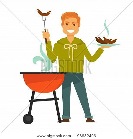 Redhead man in sweatshirt and jeans stands near grill with steam and holds hot barbecue sausages on plate and special fork isolated vector illustration on white background. Male character cooks food.