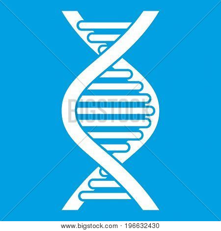 DNA strand icon white isolated on blue background vector illustration