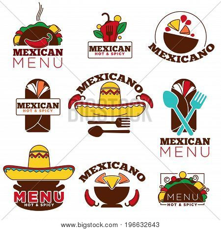 Mexican cuisine restaurant logo or cafe menu icons template. Vector isolated set of Mexico sombrero hat, spicy chili pepper jalapeno, tequila drink and nachos or burrito with spoon and fork