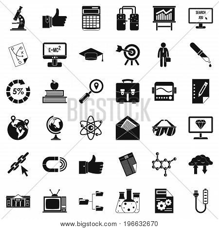 Analytics icons set. Simple style of 36 analytics vector icons for web isolated on white background