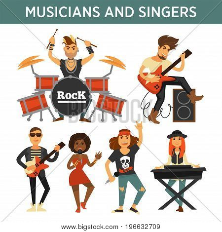 Singers, musicians and music band performers with musical instruments. Woman with karaoke microphone, drummer man on percussion, guitar and synthesizer sound in loudspeaker. Vector flat icons set