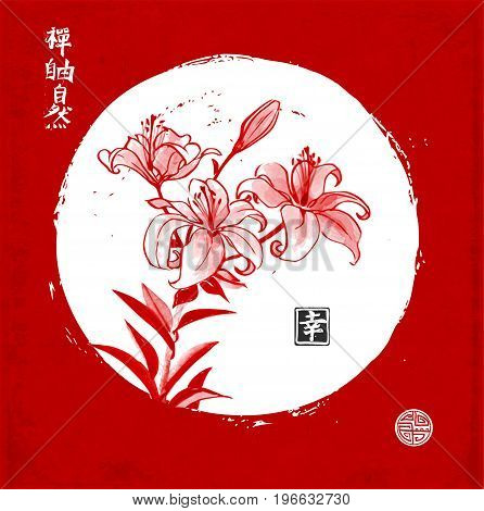 Lily flowers in white circle on red background. Traditional oriental ink painting sumi-e, u-sin, go-hua. Chrysanthemum flowers in oriental style in white circle on red background. Contains hieroglyphs - zen, freedom, nature, happiness.