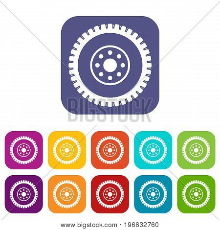 Gear wheel icons set vector illustration in flat style in colors red, blue, green, and other