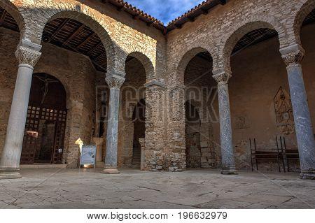POREC, CROATIA - JULY, 14: Atrium of the Euphrasian Basilica on July 14, 2017