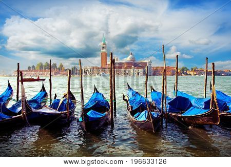 Italy. Venetian morning. Gondolas on Grand canal