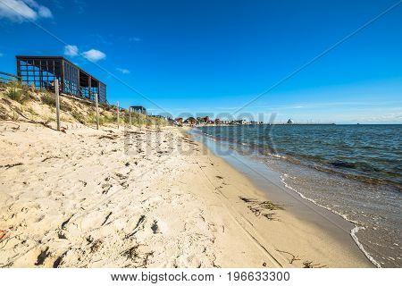 Resort town of Hel in Pomerania Poland promenade and beach at Baltic Sea popular vacation destination