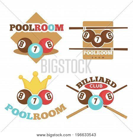 Set of vector illustrations of billiard and pool room logos.