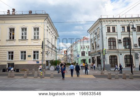MOSCOW, RUSSIA - July 20, 2017. One of the central streets of Moscow