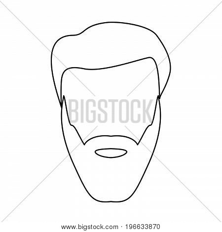 Head With Beard And Hair Black Color Path Icon .