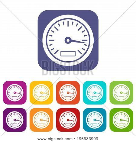 Speedometer icons set vector illustration in flat style in colors red, blue, green, and other