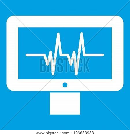 Electrocardiogram monitor icon white isolated on blue background vector illustration