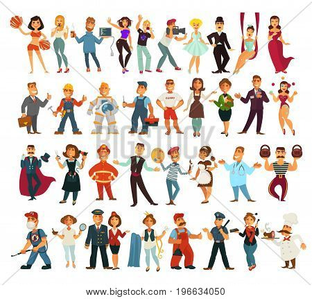 Talented performers, creative artists, brave guardians, attentive service staff, fashion world representatives, handy men, fit sportspeople and technical specialists isolated vector illustrations set.