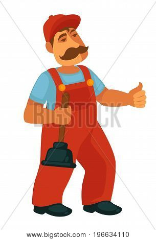 Friendly professional plumber in red overalls and cap with thick mustaches and rubber plunger in hand isolated vector illustration on white background. Public services cartoon male representative.