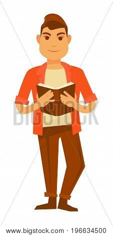 Young stylish guy in bright orange shirt, classic trousers, beige T-shirt and brown shoes with modern hairstyle reads book in hardcover isolated cartoon vector illustration on white background.