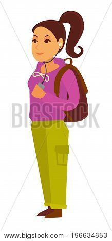 Teenage girl with ponytail in pink sweatshirt, green pants, headphones in ears that connected to smartphone stands sideways with brown rucksack isolated vector illustration on white background.