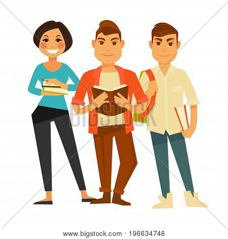 Brunette girl holds pile of books, stylish guy reads textbook and handsome boy stands with rucksack. Modern diligent students with textbooks isolated cartoon vector illustration on white background.