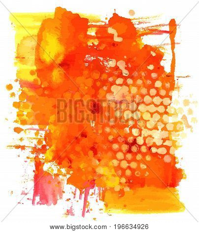 A vector background with vibrant red, yellow, and orange painterly brush strokes. An abstract artistic frame with a place for text