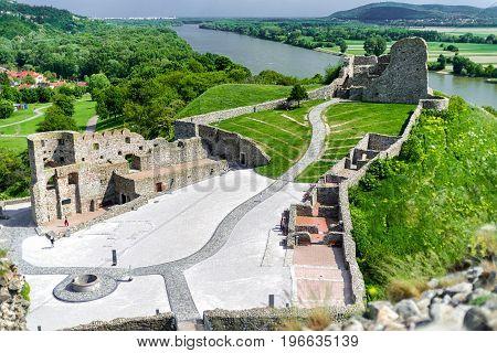 Ruins of Devin castle near city Bratislava Slovakia