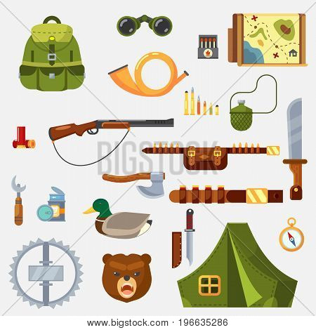 Hunting animal wild life leisure tackle and equipment icons set with rifle knive tent and survival kit isolated vector illustration