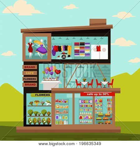 Shop or supermarket store building flat design. Vector shopping trade center with shop-window showcase of fashion clothes or dress on dummy, home accessory salon, cafe restaurant and flower boutique