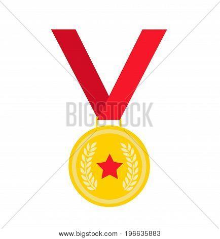 gold medal illustration art on white background