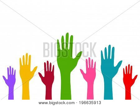 Colored hands illustration on white background art