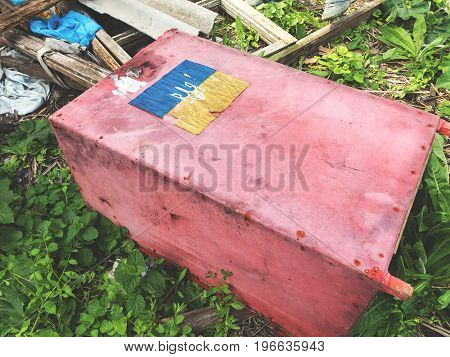 Ballot Box In The Elections. Dirty Faded The Ballot Boxes In The Election, Lying Among The Debris On