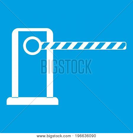 Parking entrance icon white isolated on blue background vector illustration