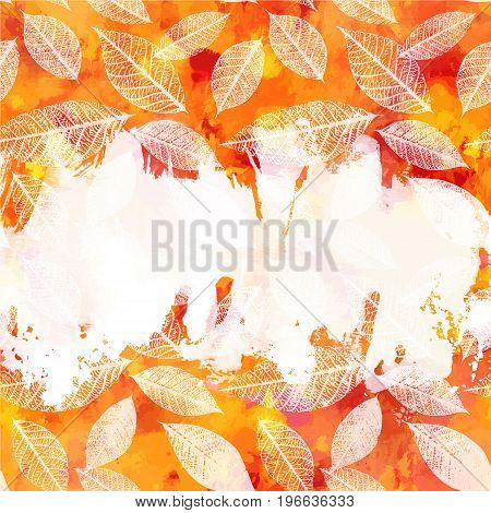 An autumn vector background texture with vibrant red, yellow, orange, and white painterly brush strokes and leaves silhouettes. An abstract artistic fall frame with a place for text