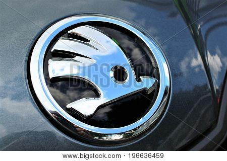 An image of a skoda logo - Bielefeld/Germany - 07/23/2017