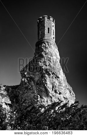 Ruins of Devin castle near city Bratislava Slovakia. Turret on cliff
