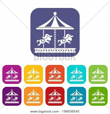 Merry go round horse ride icons set vector illustration in flat style in colors red, blue, green, and other