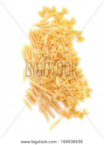 Close-up of different pasta, isolated on a white background. Raw and organic yellow rigate pasta. Macarons, noodle, spaghetti. Flour products. Penne and farfalle noodles.