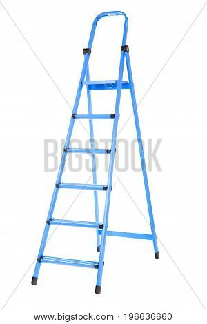Metal, high and bright blue ladder, isolated on a white background. The item for the house. A ladder for repair. Wooden ladder.