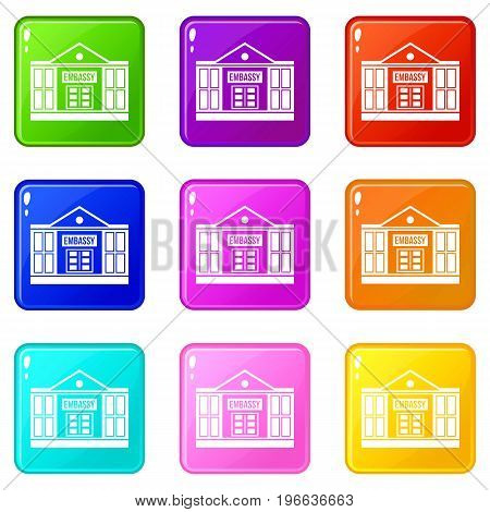 Embassy icons of 9 color set isolated vector illustration