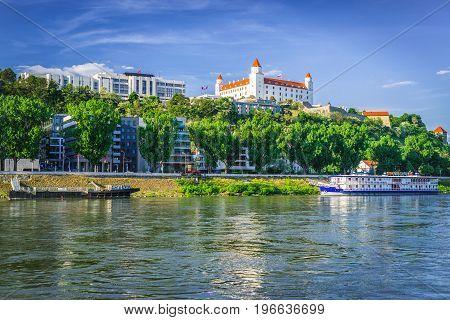 Bratislava castle and flowinr river Danube in capital city of Slovakia