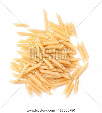 Close-up of macaroni, noodle, and spaghetti, isolated on a white background. Yellow dry pasta and spaghetti for Italian food ingredient. Organic, rigate, dry and yellow pasta. A lot of flour products.