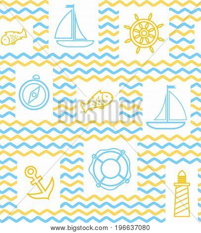 Nautical background, seamless, wave, zigzag, contour drawing, yellow and white. Yellow and blue line drawings of the attributes of sea travel. Vector white background.