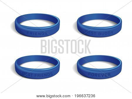 Wristband collection for Friendship Day. Set blue bracelets with various inscriptions. Friends. Best friends. Best buddy. Forever. Realistic vector illustration isolated on white background