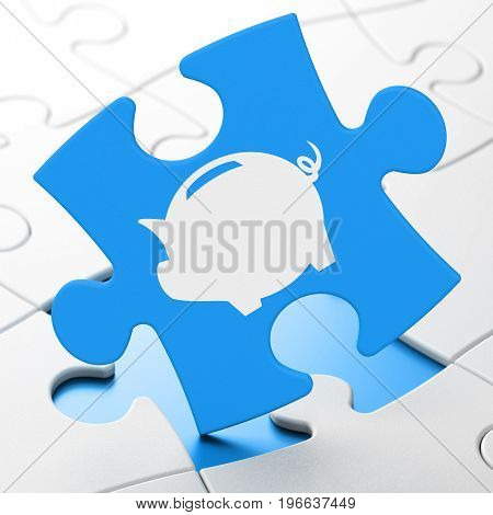 Banking concept: Money Box on Blue puzzle pieces background, 3D rendering