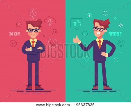 Angry and positive businessmen. Funny vector characters with mood icons on background