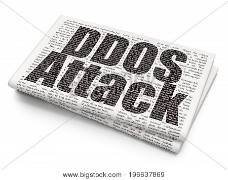 Privacy concept: Pixelated black text DDOS Attack on Newspaper background, 3D rendering