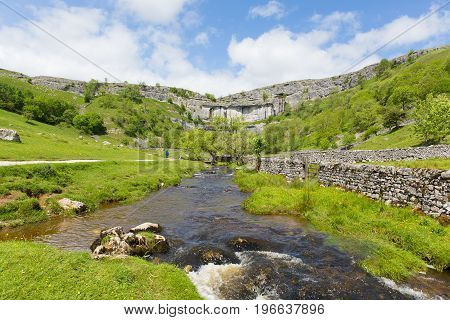 Yorkshire Dales visitor attraction Malham Cove in summer