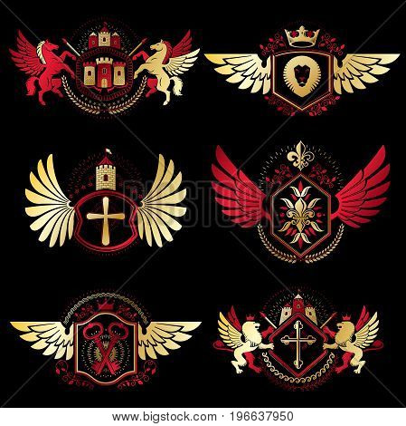 Heraldic vector signs decorated with vintage elements monarch crowns religious crosses armory and animals. Set of classy symbolic graphic insignias with bird wings.