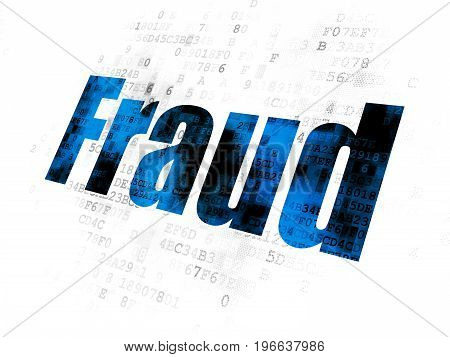 Protection concept: Pixelated blue text Fraud on Digital background