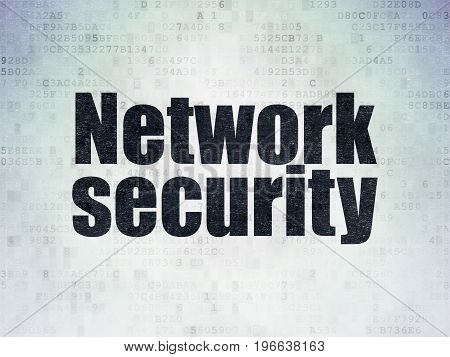 Privacy concept: Painted black word Network Security on Digital Data Paper background