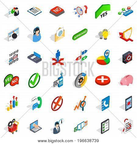 Business statistics icons set. Isometric style of 36 business statistics vector icons for web isolated on white background