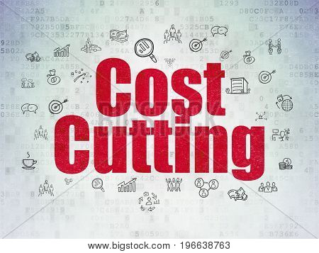 Finance concept: Painted red text Cost Cutting on Digital Data Paper background with  Hand Drawn Business Icons